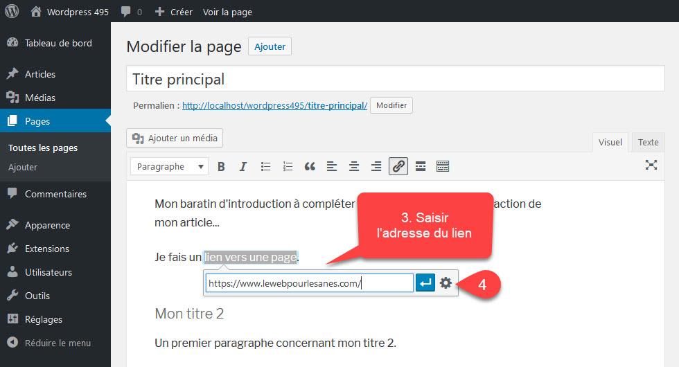 Ajouter un lien dans WordPress