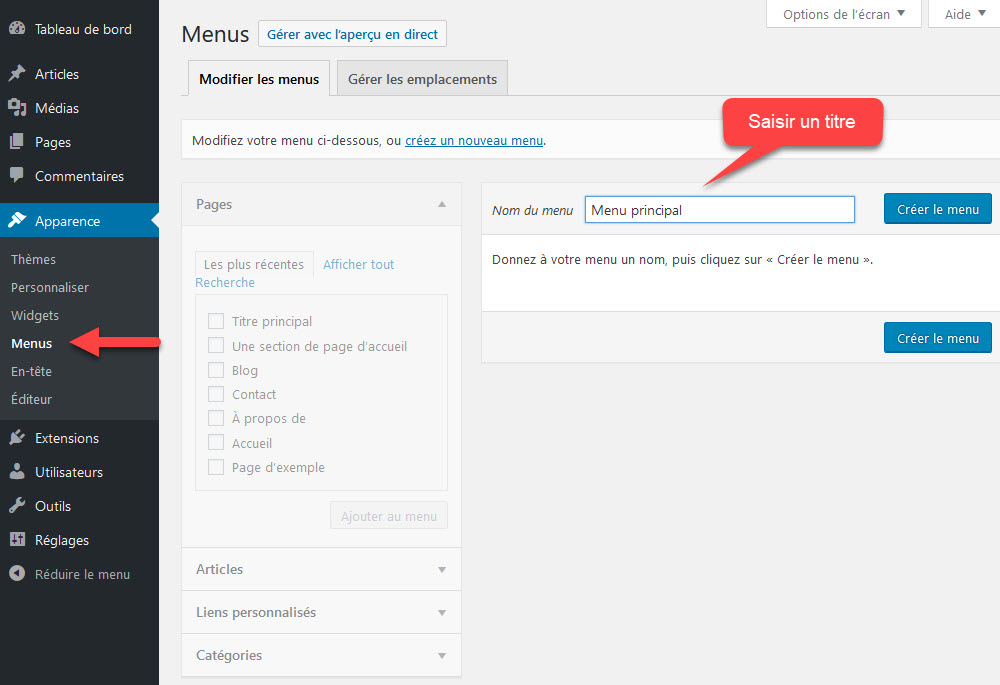 Créer un menu WordPress