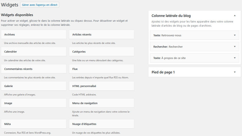 La gestion des widgets WordPress